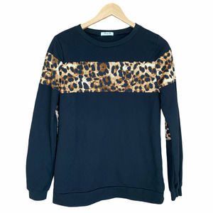 Blooming Jelly Animal Print Color Block Sweater